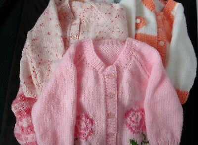Hand knitted baby girl cardigan 6-9 mths choice of design/colour