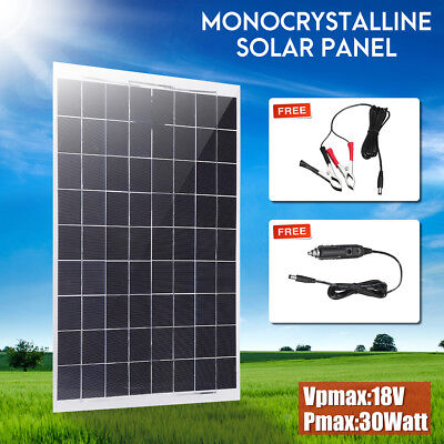 30W 12V Mono Flexible Solar Panel Battery Charger w/ Car Charger For RV Boat Car