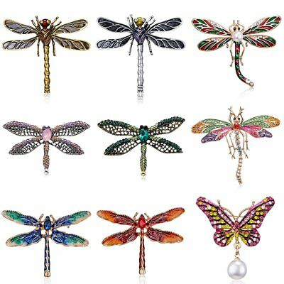 Pearl Crystal Rhinestone Dragonfly Butterfly Animals Brooch Pin Jewellery Gift