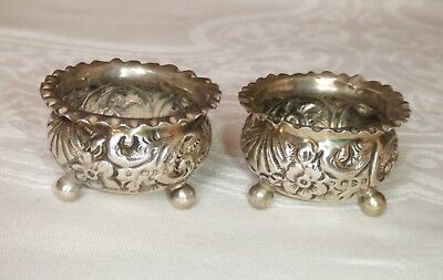 Pair of Decorative Antique English Silver Open Salts ~ Chester Hallmark