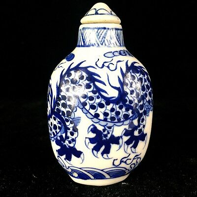 Chinese Old Collectible Blue White Porcelain Handwork PAINT Dragon Snuff Bottle