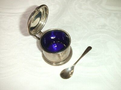 Antique English Silver Lidded Mustard Pot & Spoon C.1929