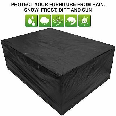 Woodside Black Large Oval Waterproof Outdoor Garden Patio Set Furniture Cover