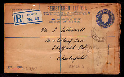 GB Registered Cover. Bolsover-Chesterfield. 1921. Used. #542