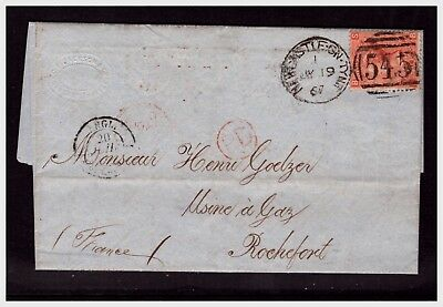 QV Letter With 4d Stamp Newcastle To Rochefort. Used  Lot-627