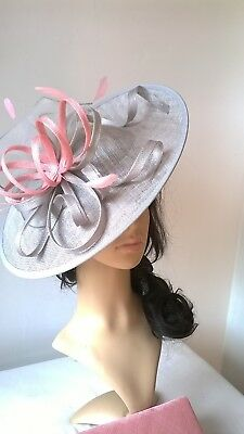 Silver Grey/ girly..sinamay & feather Hatinator shaped disc Wedding.races.new