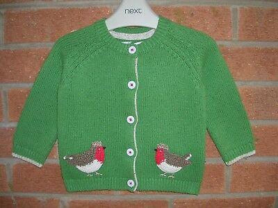 MINI BODEN Girls Cotton Wool Blend Green Cardigan Christmas Robin Age 6-12m