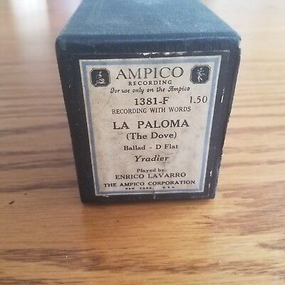 VTG AMPICO Recording Player Piano Word Roll 1381-F La Paloma The Dove