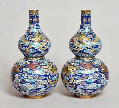 Top Quality Pair Large Antique Early 20Thc Chinese Cloisonne Double Gourd Vases