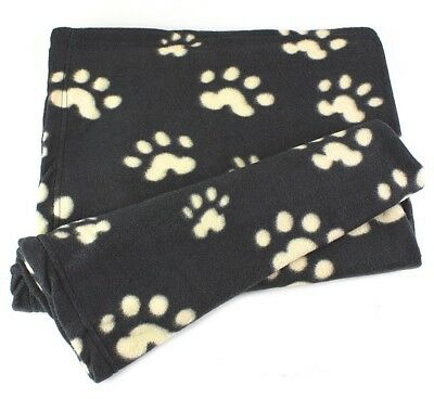 Comfortable Super Soft Warm Puppy Towel Fleece Pet Blanket Dog Cat Black & Beige