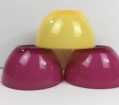 "Set 3 Dessert Cereal Bowls 6"" Melamine Melmac Yellow Magenta Outdoor Picnic Pool"