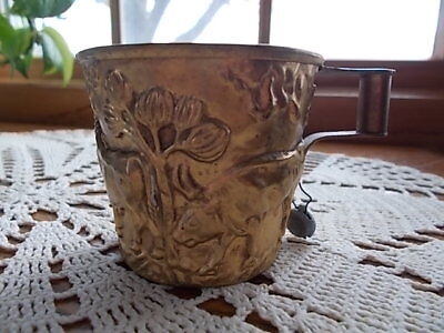 RARE! Antique HANDMADE Greek VAPHIO Wild Bulls Cup Gold Gilt Museum Tag Reprod