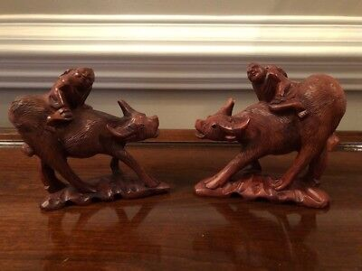 Antique  Wood Statues Hand Carved China Man on Ox (pair)
