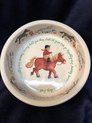 "Anderton Pottery England Child 6"" Cereal Bowl Girl Riding Pony Horse Horsey 1890"