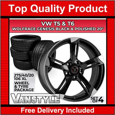 "VW T5 5x120 TRANSPORTER WOLFRACE GENESIS 20"" LOAD RATED WHEEL & TYRE PACKAGE SET"