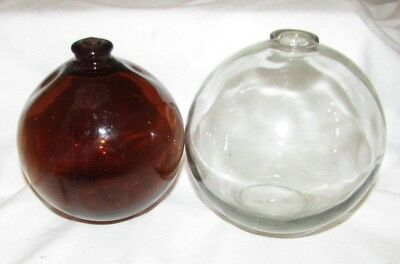 2 VINTAGE GLASS FLOAT BALLS Fishing  OWENS- ILLINOIS CLEAR AND BROWN