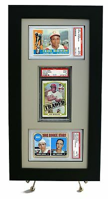Sports Card Frame for Three PSA Graded Cards (2 Horizontal/ 1 Vertical) New-Whit