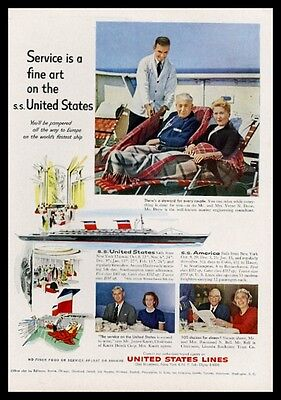 1959 SS United States ship illustration color photo US Lines vintage print ad