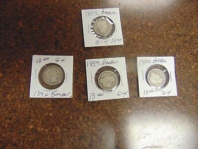 Lot of (4) Barber Quarters 1899 1896 90% Silver Coins