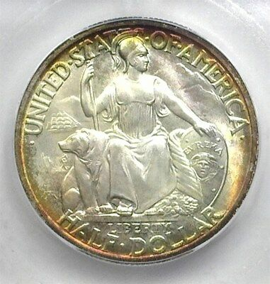 1935-S San Diego Commemorative Silver 50 Cents Icg Ms68 Amazing Rainbow Color!!