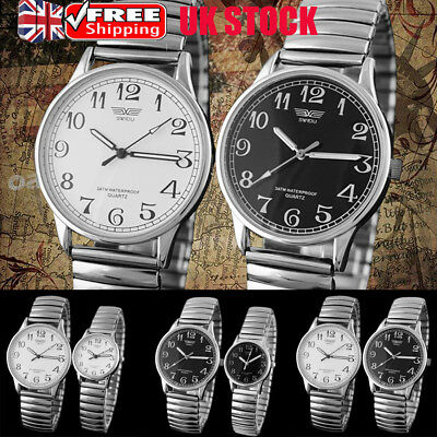 Mens Womens Vintage Elastic Band Couple Watch Stainless Steel Wristwatch Gifts