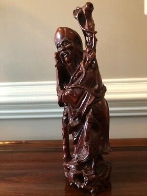 Ancient Chinese Old Boxwood Hand carved Shou longevity god Sculpture
