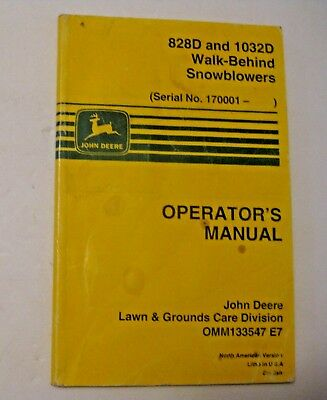 Vintage 1997 John Deere 828D & 1032D Walk Behind Snowblowers Operator's Manual