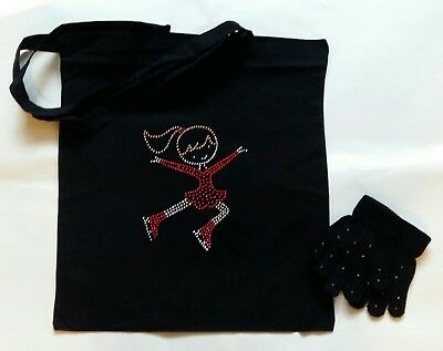 Sparkly Ice Skating dress (Red colour) Jumping Girl  Tote bag + Gloves M/L