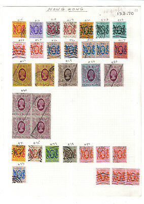 (AP31)Stamps.Hong Kong.1982.SG 415-483.34 stamps on old album page.