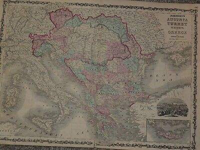"1862 Johnson Map of Austria, Turkey in Europe and Greece Hand Colored 18"" x 26"""