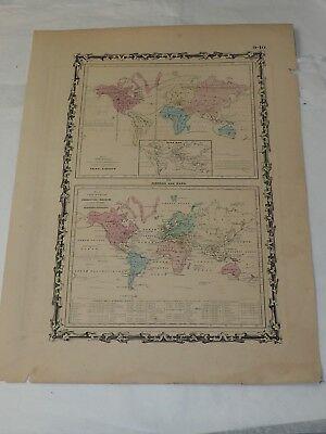 """1862 Map of the World showing the Animal Kingdom and Productive Industry 14x 18"""""""