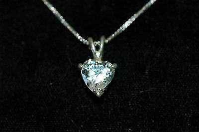 """2 Carat  Cubic Zircon Heart Pendant With 20"""" chain Sterling Silver"""