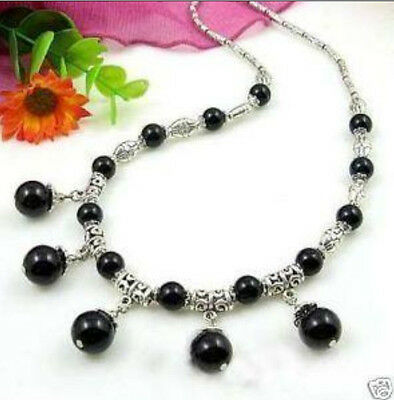 Tibet Silver Black Jade Beads Necklace 18""