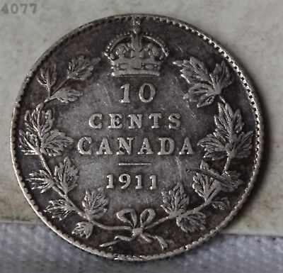 1911 *Silver* Canada 10 Cents *Free S/H After 1st Item*