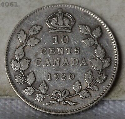 """1930 *Silver* Canada 10 Cents """"XF"""" *Free S/H After 1st Item*"""
