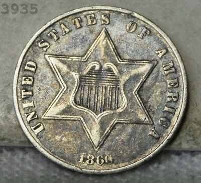 """1860 Three-Cent Piece (Trime) """"VF/XF"""" *Free S/H After 1st Item*"""