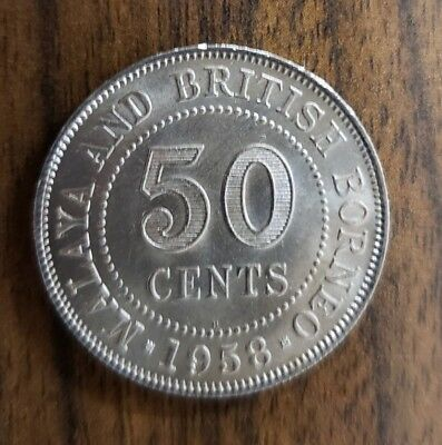 1958 Malaya & British Borneo 50 Cent Coin
