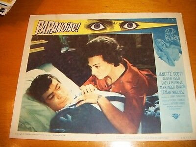1963 Paranoiac Lobby Card Featuring Janette Scott And Oliver Reed