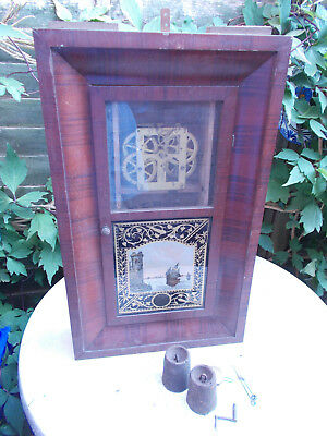 Antique American New Haven Ogee Kipper Box 30 Hour Clock For Restoration