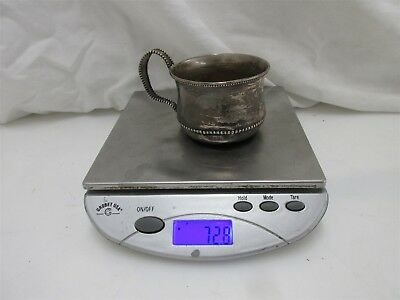 Vintage Solid Sterling Silver Baby Cup Wm Wise + Sons 72.8g W/ Bead Detail