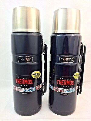2 Thermos Stainless 40-oz Vacuum-Insulated Food/Beverage Bottles - BLACK & BLUE