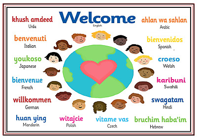 Personalised A4 Poster Sign Nursery Children Kids Childminders Welcome Languages