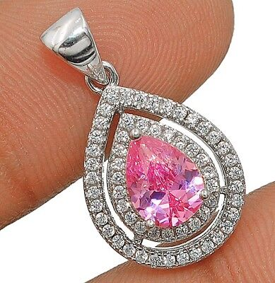2CT Pink Sapphire & White Topaz 925 Solid Sterling Silver Pendant Jewelry
