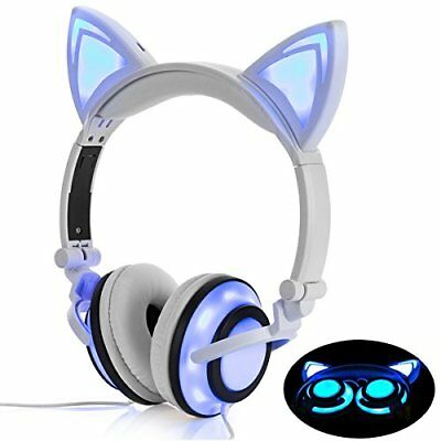Headphone Cat Ear Headset,LED Light with USB Chargeable Foldable (White)