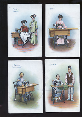 lot of 11 old Singer sewing machine trade cards, China, etc