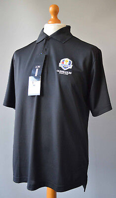 Men's Black adidas Ryder Cup Gleneagles Scotland 2014 Golf Polo Shirt Size L.