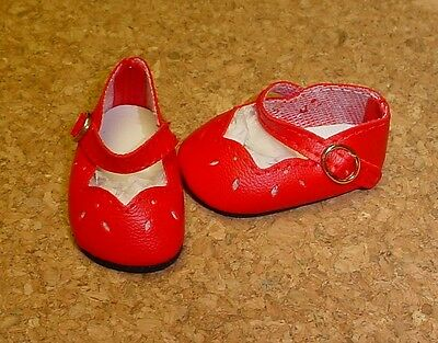 """Doll Shoes 54mm RED Ribbon Side Mary Janes Leathr Look Bows 13/"""" Patsy"""