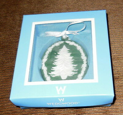 Wedgwood Tree Cameo Green Christmas Ornament in Original Box
