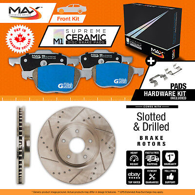 2013 VW Golf w/288mm Front Rotor Dia Slotted Drilled Rotor M1 Ceramic Pads F