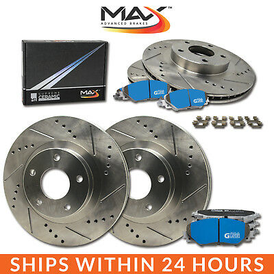 1996 1997 Lincoln Town Car Slotted Drilled Rotor M1 Ceramic Pads F+R